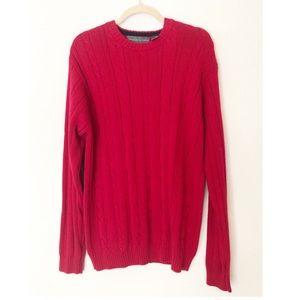 Red Oscar de la Renta Size Large Knit Sweater